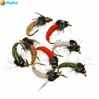 8PCS/Set #12 Brass Bead Head Caddis Nymph Fly for Fly fishing Trout Pan Fish