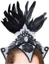 Burlesque Headpiece Silver Black Fancy Dress Show Girl Costume Accessory