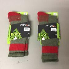 New Men's Wigwam Boot Merino Wool Socks 2 Pair Size Large Green w/ Red #635L
