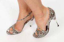 Metallic silver leopard print peeptoe heels from FAITH size 7  glamour pin-up