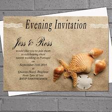 Personnalisé coquillages plage mariage soirée jour de réception des invitations x 12 H0401