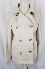 Gap Double Breasted Trench Material Short Peacoat Jacket Womens M Military Field