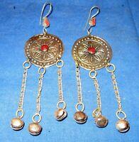 "Earrings Circle Carnelian Bells Afghan Kuchi Tribal Alpaca Silver 2"""