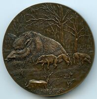 FRANCE BRONZE ART MEDAL BY RETHORE BOAR WILDLIFE FAUNA 68MM 166G