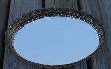 "Vintage Brass Oval Vanity Mirror / tray 13"" x 9"""