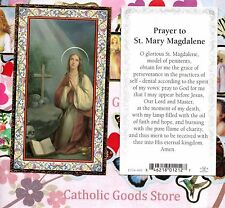Saint St. Mary Magdalene w/ Prayer - gold trim - Paperstock Holy Card