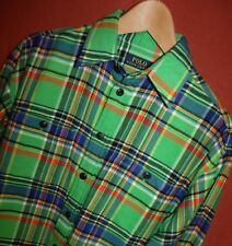 Men's Polo Ralph Lauren Lime Green Multi Color Striped Soft Flannel Shirt Size S