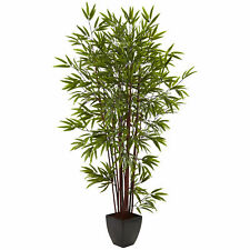 Bamboo Silk Tree W/Planter Realistic Artificial Nearly Natural 6' Home Decor