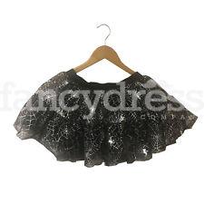 Ladies Spider Web Halloween Tutu Fancy Dress Costume Accessory Black Silver NEW