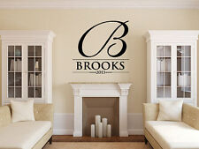 Personalized Family Name Wall Decal Monogram #13 Living and Family Room Vinyl