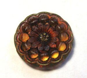 Beautiful Antique Lacy Glass Button Red Orange Flower Design