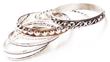 8 Pack-filigree Chrome,Silver Glitter,Twisted Chrome & Slim Metal Bangles(Zx304)