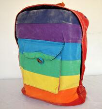 Multicolor rainbow horizontal  hippie backpack , handmade, canvas
