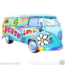VW CAMPERVAN HIPPY PEACE LOVE BLUE iron on t shirt transfer A5