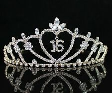 SWEET SIXTEEN 16 RHIESTONE TIARA CROWN WITH COMBS PARTY JEWELRY T538 GOLD TONE