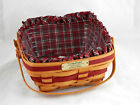 Longaberger 1993 Bayberry Basket, Plaid Tidings Liner & Protector