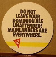 VINTAGE NEWFOUNDLAND DOMINION ALE BEER COASTER - NEW OLD STOCK