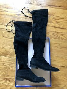 Stuart Weitzman Lowland Over The Knee Boots in Black Suede Size 6.5