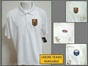 New Sz S-3XL White Nhl Mens Polyester Golf #36P Polo Shirt