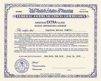 Personalized Repro Old Style Amateur Radio License Ham - Choice of Class, Color