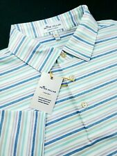 Peter Millar Summer Comfort Vtg Colorful Stretch Striped Polo Shirt Crown Sport