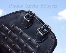 LeatherWorks Heavy Duty Black Leather Splinted Bracers x2 Arm Guards Armor LARP