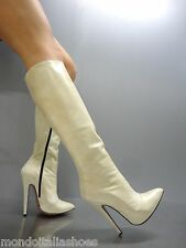 MORI MADE IN ITALY KNEE HIGH LUXURY BOOTS STIEFEL STIVALI LEATHER BEIGE NUDE 40