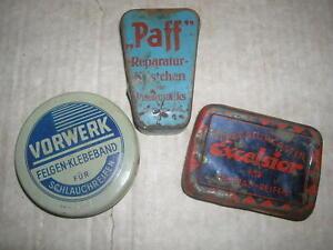 """Drei ate Fahrrad Flickzeugdosen """"Paff"""" , Excelsior , Vorwerk , Blechdosen"""