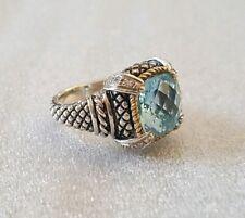 Blue Topaz Sterling 18K Gold And Diamonds Ring Size 6 3/4 Designer Signed