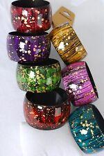 Bulk Lot 12 Wide Bracelet Bangles Acrylic Fall Colors Fancy Print Assorted