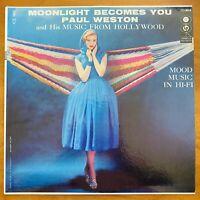 Vintage Vinyl 33rpm LP Record Album: Paul Weston, Moonlight Becomes You
