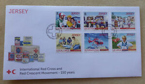 2013 JERSEY 150th RED CROSS & RED CRESCENT SET OF 6 STAMPS FDC FIRST DAY COVER