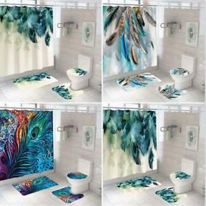 4Pcs/Set Shower Curtain Feather Toilet Lid Cover Waterproof Polyester 180x180cm