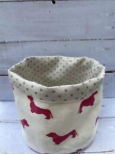 Emily Bond Pink Dachshund Fabric / Peony And Sage Grey Spot Storage Basket - New