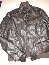 Men's Faux Leather Autograph M&S Zip Front Bomber Jacket Size Small