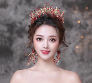 prom headwear Hair head accessory Fascinator Garland Headband butterfly Tiara Women Girl Red Flower headpiece