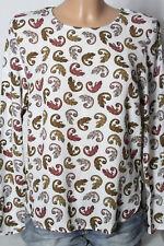 H&M Bluse Gr. 34-36 weiß Langarm Bluse/Tunika mit Salamander Motiven