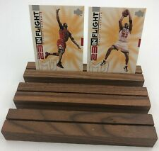 (3)x Double Trading Card Postcard Display Wood Stand Holder Simple Effective