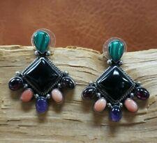 Native American Sterling Onyx Coral Amethyst Garnet Malachite Sterling Earrings