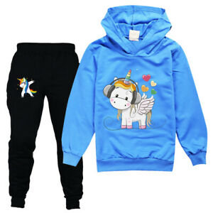 1 Set Kinder Anzug Unicorn Kapuzenpullover + Hosen Langarm Trainingsanzug Neu