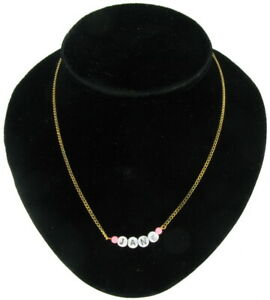 Jane - Name Necklace Gold Tone Pink Glass - Circa 1950-60