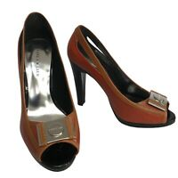Karen Millen Brick Red Brown Leather Peep Toe High Heel Court Shoes Size 5.5 UK