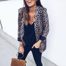 Women Ladies Leopard Print Blazer Jacket Coat Slim Fitted Office OL Outwear Tops