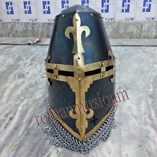 13th cent.SCA ARMOR Crusader Great Helmet with brass cross,