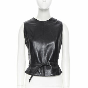 ANN DEMEULEMEESTER vintage leather chest plate armor belted vest top FR38 M