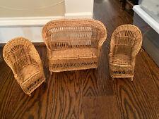 Wicker Rattan Vintage Victorian Settee Chairs Fan Back Childrens