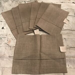 FAB! Set of 7 Waterworks Undyed 100% Pure Linen Guest Towels w Loops NEW!