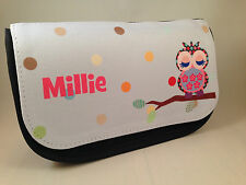 Personalised pencil case - Owl design - any name - Christmas Gift