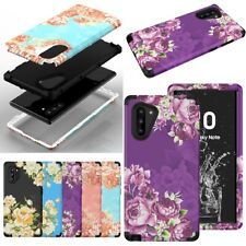 For Samsung Galaxy Note 8 9 10 Plus Floral Hybrid Plastic SIlicone Case Cover