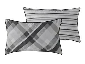 Luxury Grey Check 200TC Reversible Cushion Cover 30 x 50cm